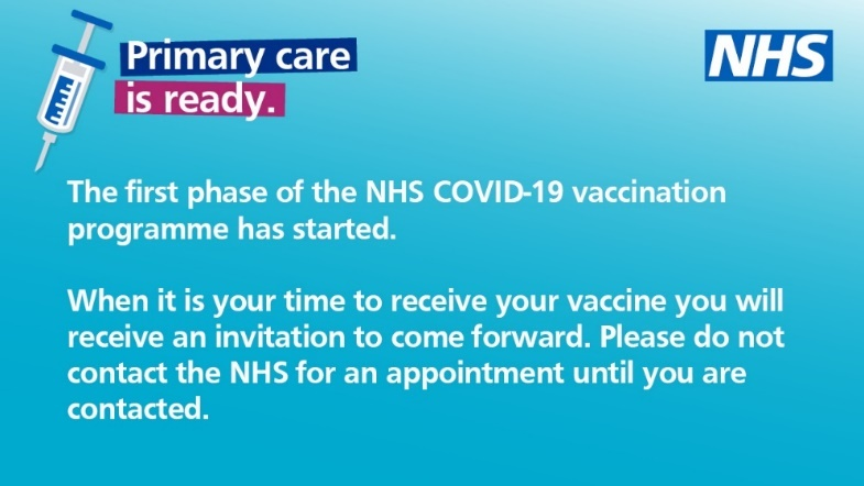 The first phase of the COVID Vaccinations have started, the NHS will contact you with an appointment